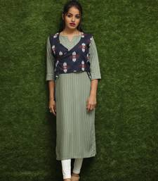 Women Light Green Kurti With Blue Jacket
