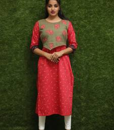 Women Red Kurti With Green Jacket