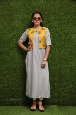 Women Off-White Long Kurti With Yellow Jakcet