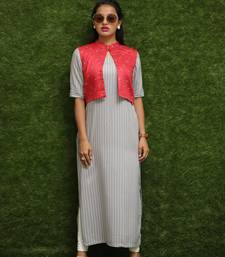 Women Off-White Kurti With Red Jacket