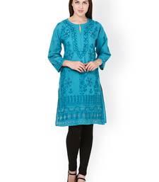 Blue embroidered cotton chikankari-kurtis