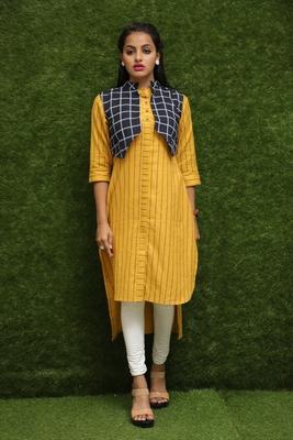Women Yellow Kurti With Blue Jacket