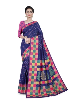 Navy blue printed cotton stretch saree with blouse