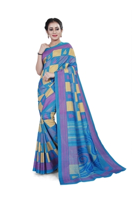 Sky blue printed cotton stretch saree with blouse