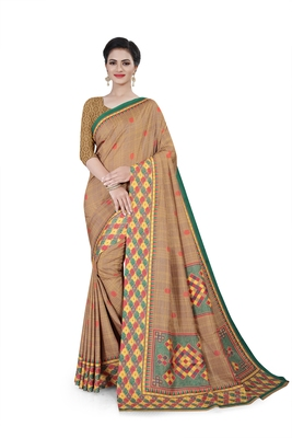 Beige printed cotton stretch saree with blouse
