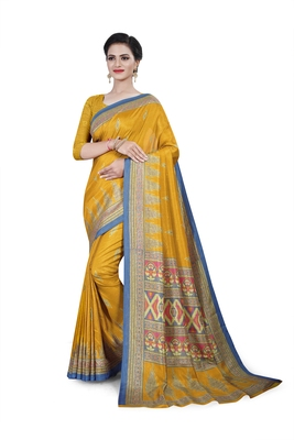 Gold printed cotton stretch saree with blouse