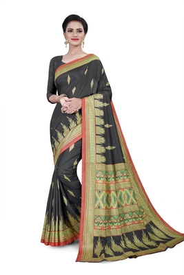 Black printed cotton stretch saree with blouse