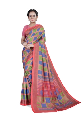 Pink printed cotton stretch saree with blouse