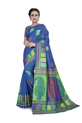 Blue printed cotton stretch saree with blouse