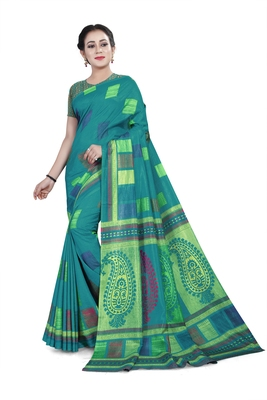 Sea green printed cotton stretch saree with blouse