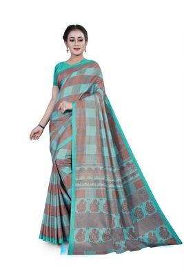 Aqua blue printed cotton stretch saree with blouse