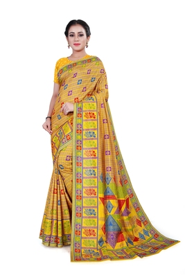 Yellow printed cotton stretch saree with blouse