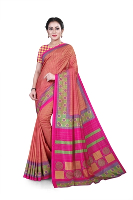 Multicolor printed cotton stretch saree with blouse