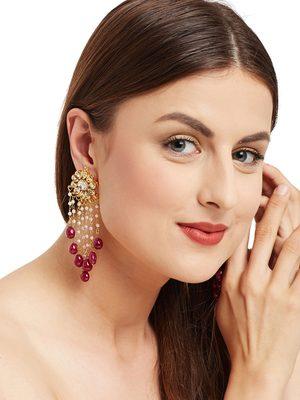 Maroon Tassle Earrings