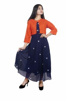 18 FOREVER V R FOR U Women's Georgette Blend Anarkali Kurta With Jacket