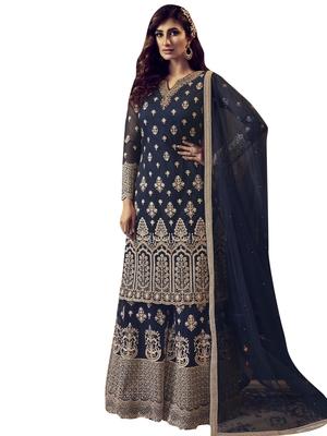 Navy blue embroidered net salwar