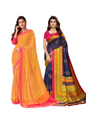 Classiques Yellow & Navy Blue Saree Combos With Blouse (Pack of 2)
