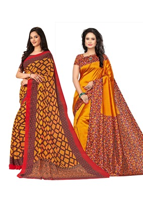 Classiques Yellow Saree Combos With Blouse (Pack of 2)