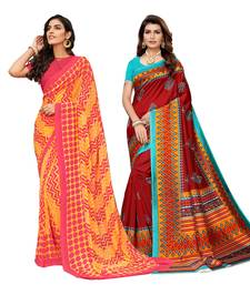 Classiques Yellow& Red Saree Combos With Blouse (Pack of 2)