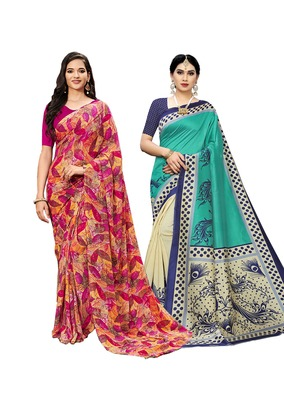 Classiques Multicolor & Turquoise Saree Combos With Blouse (Pack of 2)