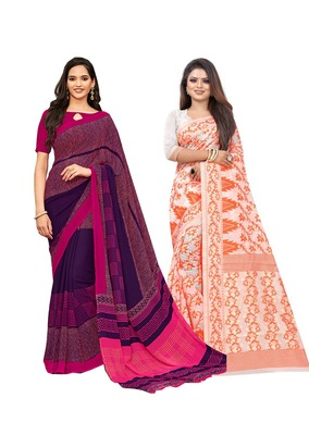 Classiques Purple & Orange Saree Combos With Blouse (Pack of 2)