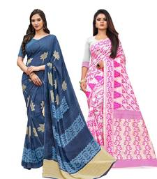 Classiques Blue& Pink Saree Combos With Blouse (Pack of 2)