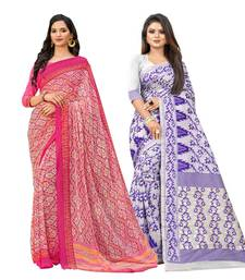 Classiques Pink & Purple Saree Combos With Blouse (Pack of 2)