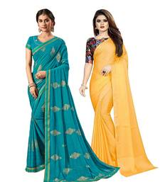 Classiques Blue & Mustard Yellow Saree Combos With Blouse (Pack of 2)