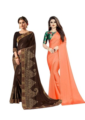 Classiques Brown & Peach Saree Combos With Blouse (Pack of 2)