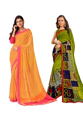Classiques Yellow & Green Saree Combos With Blouse (Pack of 2)
