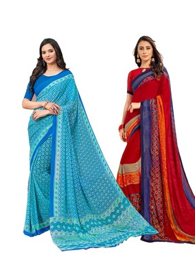 Classiques Blue & Red Saree Combos With Blouse (Pack of 2)