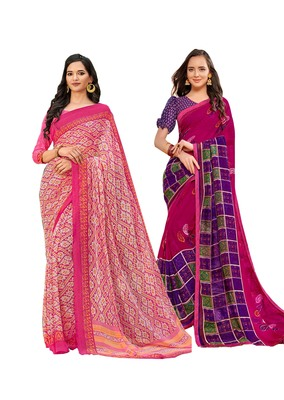 Classiques Pink Saree Combos With Blouse (Pack of 2)