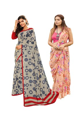 Classiques Grey & Peach Saree Combos With Blouse (Pack of 2)