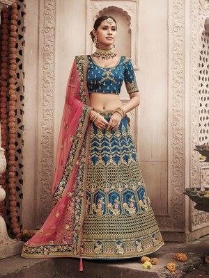 Aqua-blue embroidered silk semi stitched lehenga