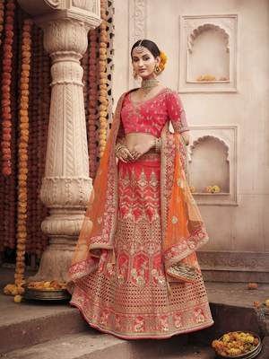 Hot-pink embroidered silk semi stitched lehenga