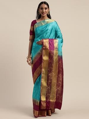 Blue woven nylon saree with blouse