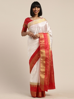 White woven nylon saree with blouse