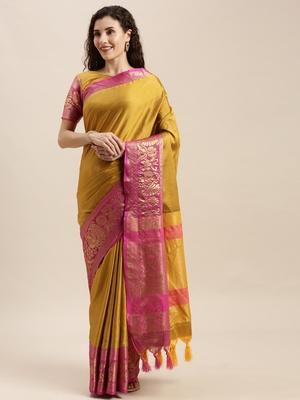Mustard woven silk blend saree with blouse