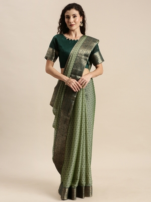 Green printed polyester saree with blouse