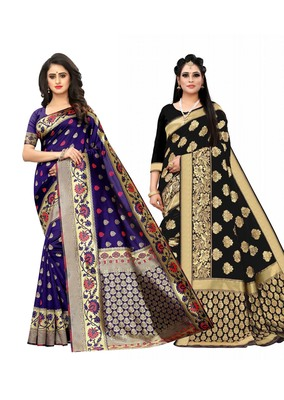 Classiques Blue & Black Saree Combos With Blouse (Pack of 2)