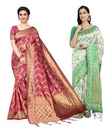 Classiques Peach & Green Saree Combos With Blouse (Pack of 2)