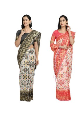 Classiques Black & Red Saree Combos With Blouse (Pack of 2)