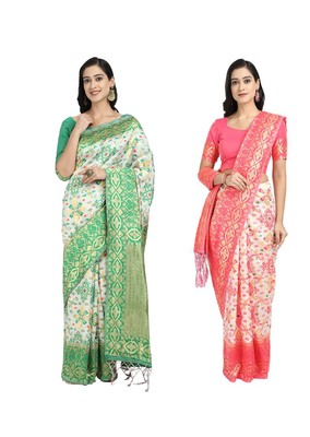 Classiques Green & Pink Saree Combos With Blouse (Pack of 2)