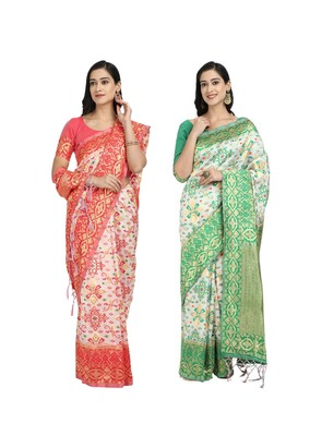 Classiques Red & Green Saree Combos With Blouse (Pack of 2)