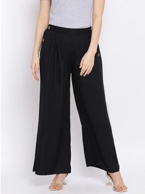 Black Glare Button Women Pant