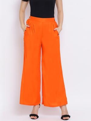 Orange Sia Button Women Pant