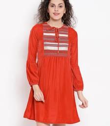 Orange Buttercup Women Velvet Dress