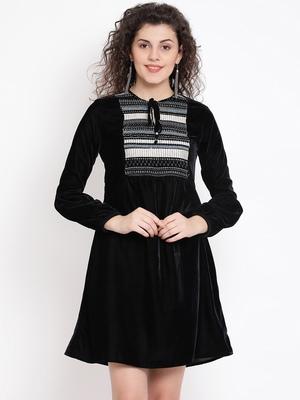 Black Sapphire Ripple Women Velvet Dress