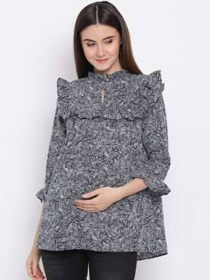 Leafy Cocktail Ruffle Maternity Top
