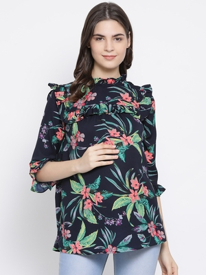 Floral Wave Ruffle Maternity Top